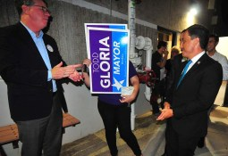 Todd Gloria leaves union hall to applause by supporters after his mayoral endorsement.