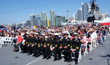 About 500 people attended an annual 9/11 memorial service aboard the USS Midway. Photo by Chris Stone