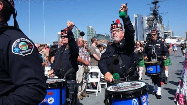 Members of the San Diego Emerald Society Pipes & Drums were part of the honor guard. Photo by Chris Stone