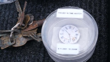 A clock showing the time of the 9/11 attack was among the items found in the rubble at the Twin Towers. Photo by Chris Stone