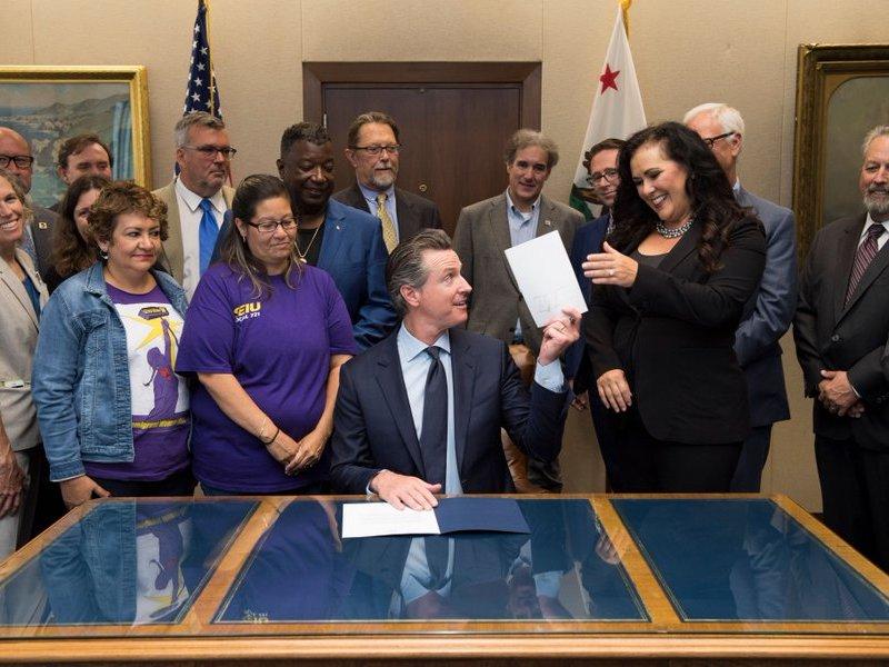 Gov. Gavin Newsom with Assemblywoman Lorena Gonzalez