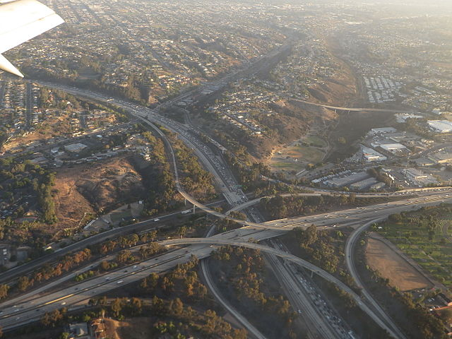 Aerial view San Diego freeway