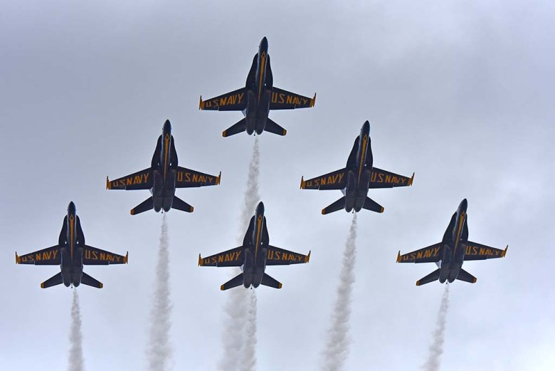 The U.S. Navy Blue Angels are a crowd pleaser as the final at in the MCAS Miramar Air Show.
