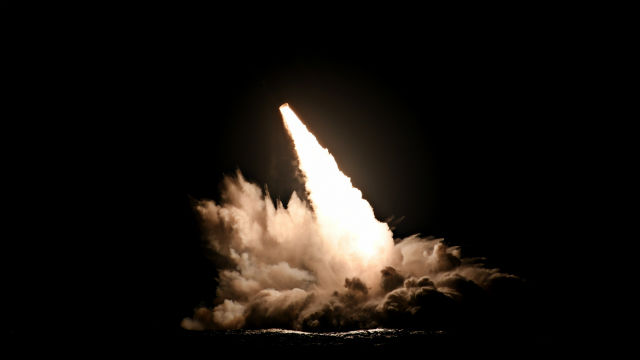Trident II missiles launches from the USS Nebraska