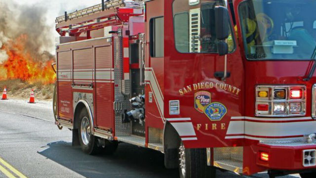 Cal Fire San Diego truck at a brush fire