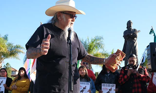 Kenny Meza, retired chairman of Jamul Indian Village, gave a blessing at the event in Chula Vista.