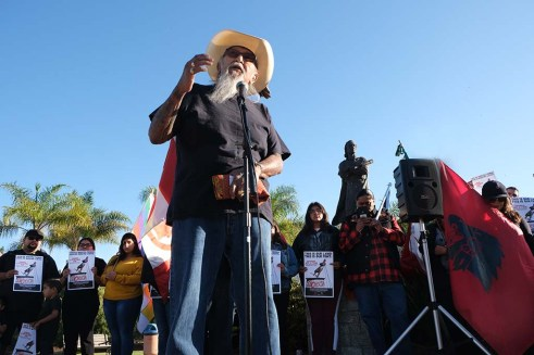 Kenny Meza, former chairman of the Jamal Indian Village, gave a blessing at the event in Chula Vista.