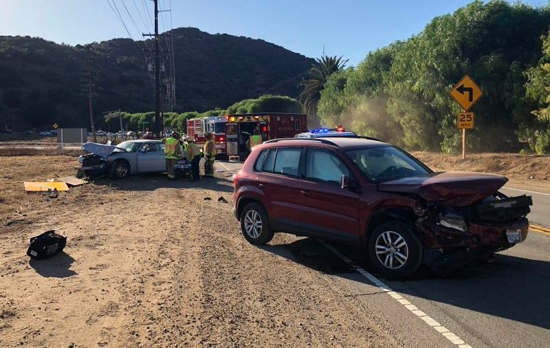 Scene of a head-on collision in Pala.
