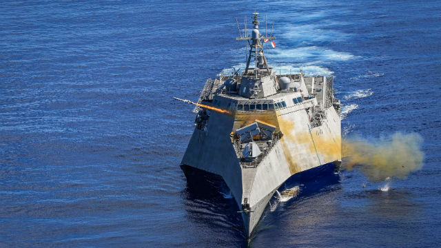 USS Gabrielle Giffords launches missile