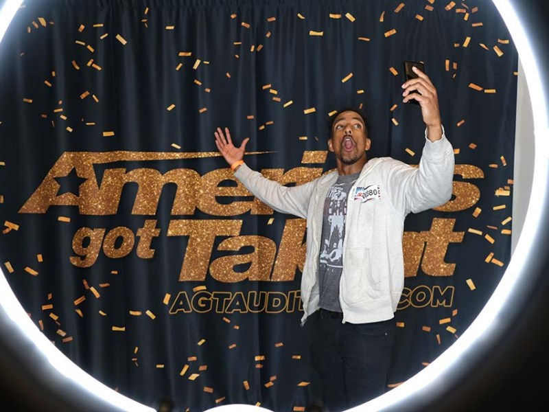 """Antoine Baynes sampled his impersonations of Bill Cosby and Barack Obama in """"AGT"""" holding room at the San Diego Convention Center."""
