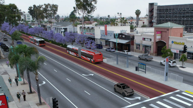 Dedicated bus lanes on El Cajon Boulevard