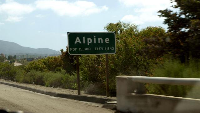Sign for Alpine on I-8