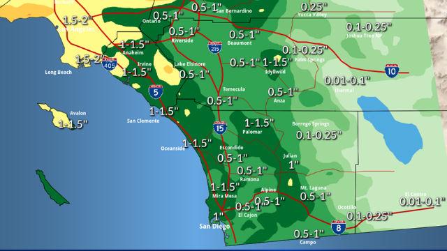 Forecast Sunday through Thursday precipitation