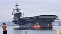 The USS Abraham Lincoln arrived at Naval Air Base North Island at mid morning.