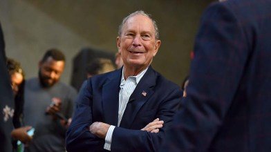 Presidential candidate Mike Bloomberg chats with veterans after remarks at Fuse, a Linda Vista firm that employs veterans