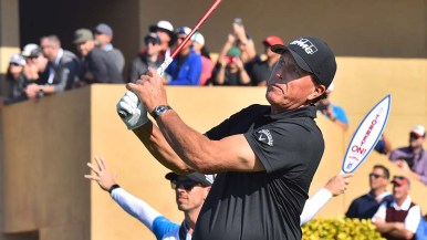 Phil Mickelson tees off of Hole 1 on the south course on the first day of competition at the Farmers Insurance Open.