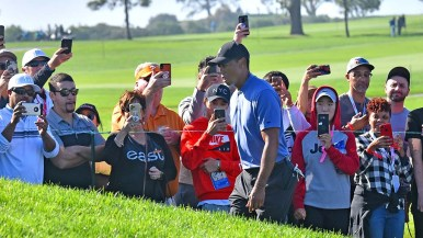 Fans have their cell phone focused on Tiger Woods as he moves to Hole 9 of the south course at the Farmers Insurance Open.