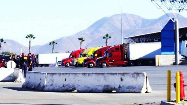 Trucks crossing border at Otay Mesa