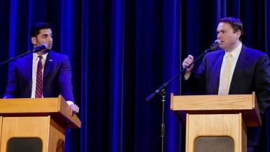 Ammar Campa-Najjar (left) eyes Carl DeMaio during 50th Congressional District forum in Valley Center.