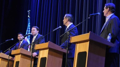 From left: Ammar Campa-Najjar, Carl DeMaio, Darrell Issa and Brian Jones parried questions and each other for about 2 hours in Valley Center.