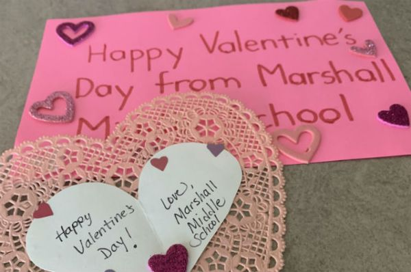 Valentines from San Diego Middle School Cheer Coronavirus Evacuees at Miramar