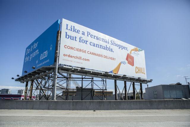 Billboard advertising marijuana delivery
