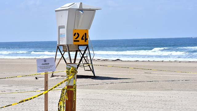 San Diego city beaches are closed to the public during the coronavirus outbreak.