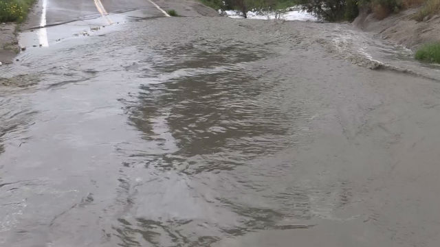 Flooded road in the Tijuana River Valley
