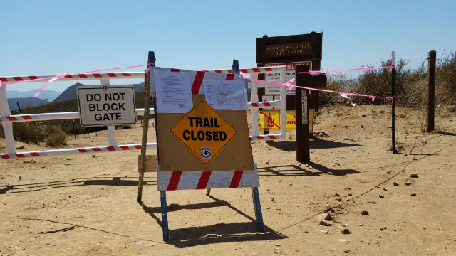 Trail closed in Cleveland National Fores