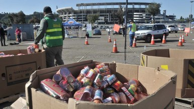 Thirty pounds of food was given to 1,000 needy families at SDCCD Stadium, followed by three more in the coming weeks.