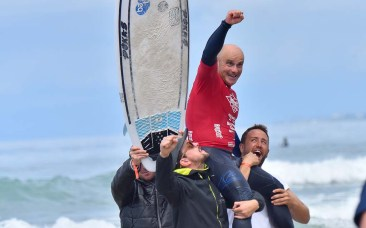 Aitor Francesena or Spain celebrates after winning in the visually impaired category at the Ampsurf 2020 ISA World Para Surfing Championship on La Shores Beach.Ampsurf 2020 ISA World Para Surfing Championship on La Shores Beach.