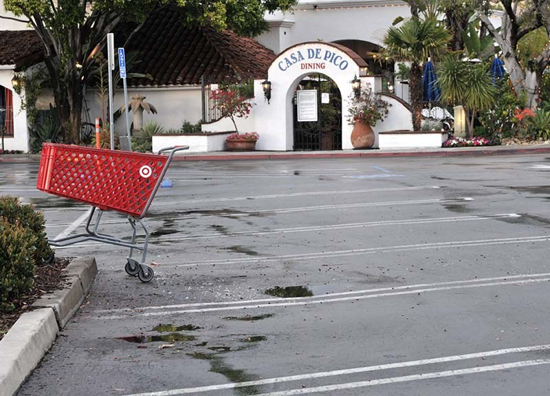 Parking lots outside restaurants remain empty as people self-quarantine.