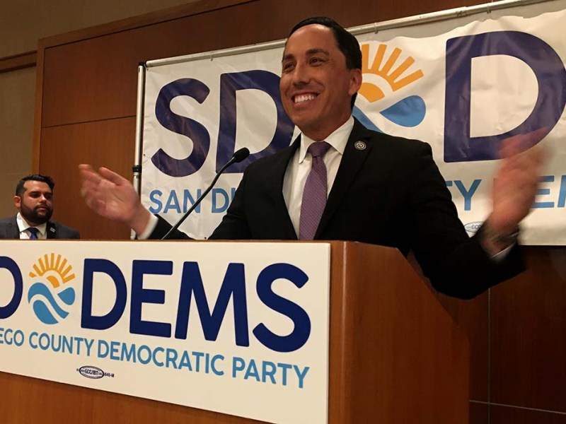 Assemblyman Todd Gloria gave a rousing speech as leader in San Diego mayor race.