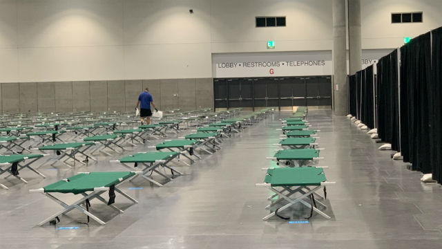 Cots in the convention center