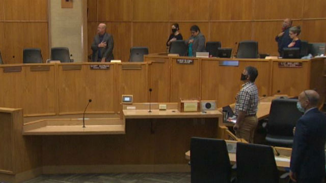 Nearly empty City Council chamber