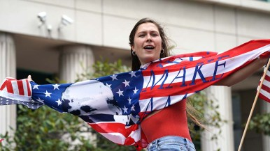 """Red-white-and-blue was a common motify for protesters at downtown """"freedom rally."""""""