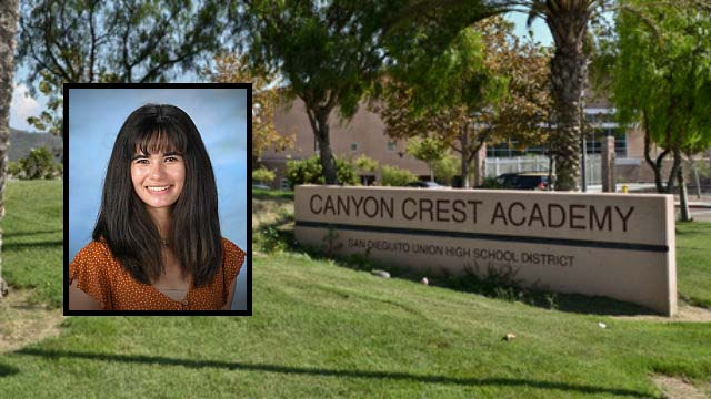 Canyon Crest Academy in Carmel Valley with Christina Wooden (inset).