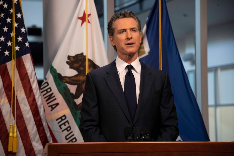 Gov. Gavin Newsom briefs the press