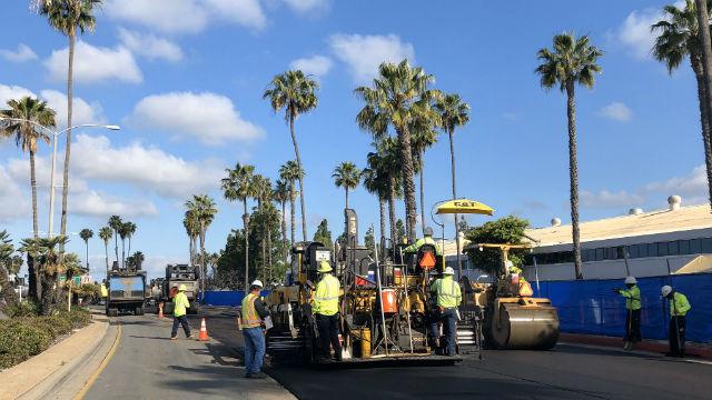 City crew repaving North Harbor Drive
