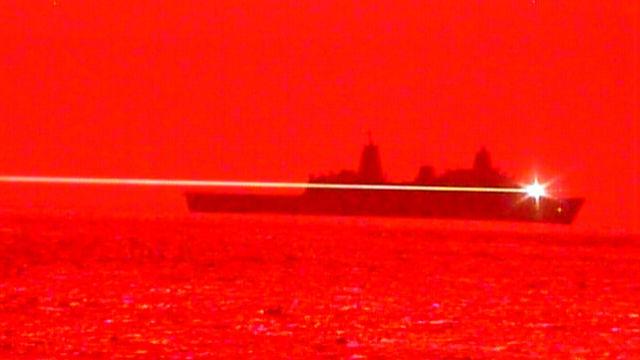 USS Portland fires its laser