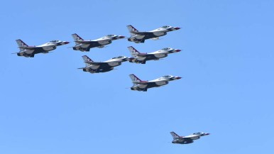 U.S. Air Force Thunderbirds pass over Sharp Grossmont Hospital in formation — but not at highest speed.