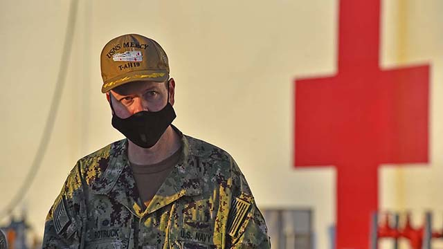 Capt. John Rotruck, commanding officer of Medical Treatment Facility of the USNS Mercy, speaks t