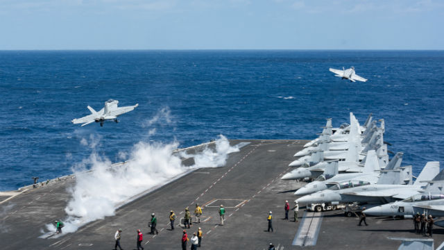 Jets launch from the USS Harry S. Truman