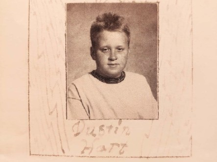 Dustin Hart as a younger boy was pictured in 2005 Santana High School yearbook.
