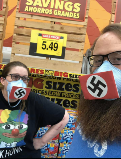 The Harts used Velcro to attach small Nazi flags to their face coverings for Santee shopping excursion.