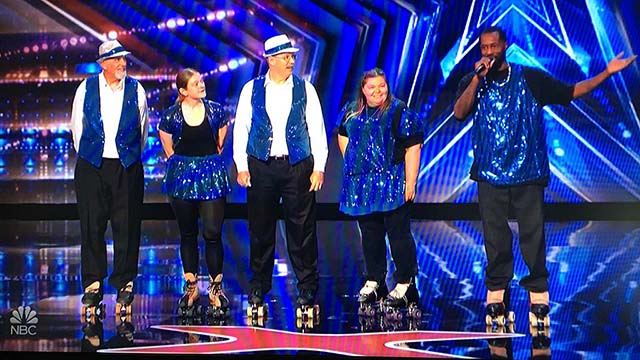 "Old School Skaters (from left) on ""America's Got Talent"" were Paul Dunham, Nicole Stewart, Paul Lee Jr. (PJ), Lisa Cuerden and La'Brian Lawrence."