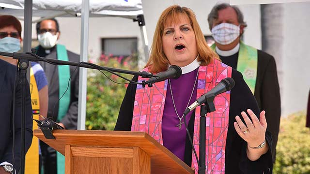 Bishop Susan Brown Snook of the Episcopal Diocese of San Diego said God's business is to lift up those who suffer from injustice and that needs to be our business, too.