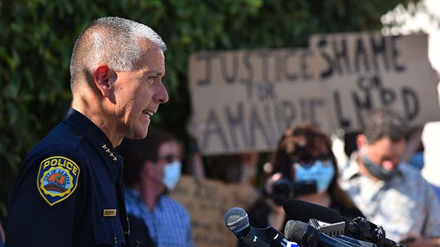 Police Chief Walt Vasquez speaks at press conference