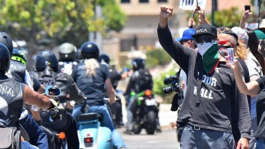 Protesters welcome members of numerous motorcycle groups supporting the Black Live Matter protest in La Mesa.