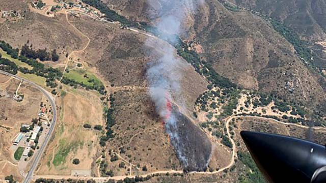 View of Dehesa vegetation fire from aircraft.
